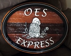 Old English Sheep Express sandblasted cedar sign made from clients design by Condor Signs/Systems Vernon BC Canada