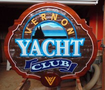 Vernon Yacht Club restored sand blasted cedar wood sign Condor Signs can make old signs new again