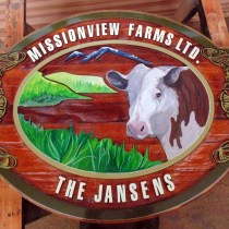Wooden farm sign before restoration By Condor Signs Vernon BC