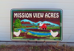 farm signs Canada Mission View Acres wood sign sandblasted cedar by Vernon BC sign maker Condor Signs