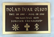 custom metal headstone/memorial plaque in bronze for Nolan Ivar Olson by Vernon BC sign maker Condor Signs