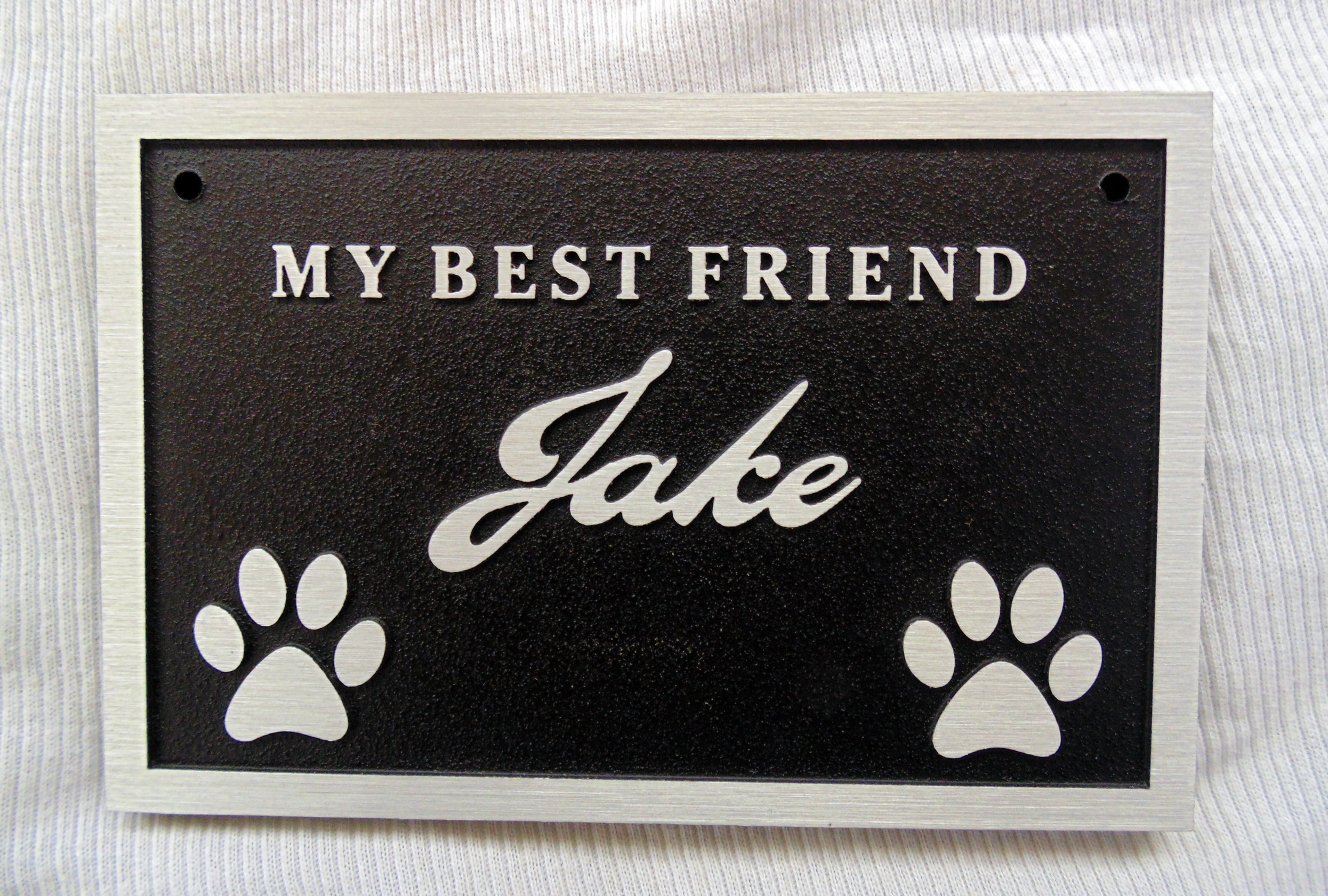 Metal aluminum memorial plaque for mans best friend custom designed by supplied by condor signs vernon