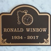 Bronze metal grave marker plaque for Ronald Winbow by Condor signs Vernon BC