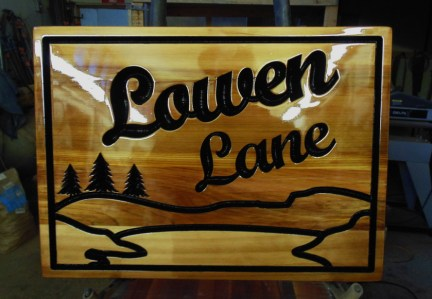 V Router cedar sign finished to last years out side