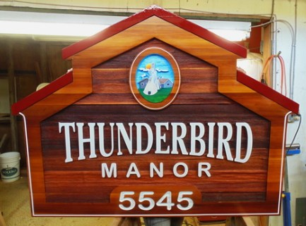 Vernon Native Housing Affordable urban living for first nations.Sandblasted artist painted cedar wood sign by Condor Signs Vernon BC