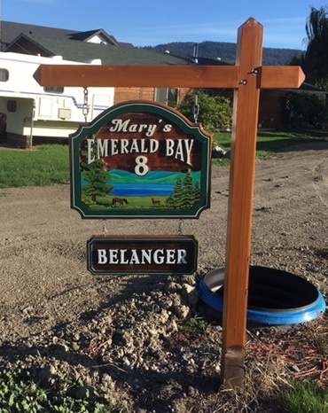 Installed sign at Mary's Emerald Bay. Posts and signs created by Condor signs Vernon BC