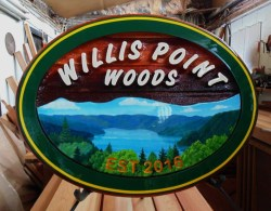 Vancouver Island Canada view from Willis Point. Sandblasted cedar sign We manufacture and ship signs to your door.