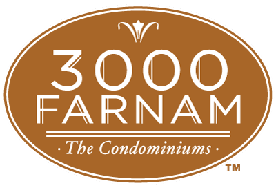 3000 Farnam Logo White Lettering with Sepia Background