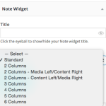 Note layouts dropdown