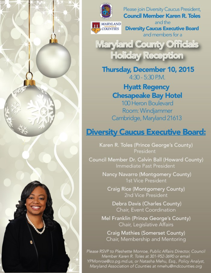 Maryland County Officials Diversity Caucus Holiday Reception Flyer