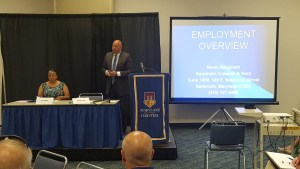 Prince George's County Council Member Deni Taveras (L) and Kevin Karpinski,Partner at Karpinski, Colaresi & Karp, PA (L) moderating and presenting, respectively, the Academy Core session on Employment Issues.