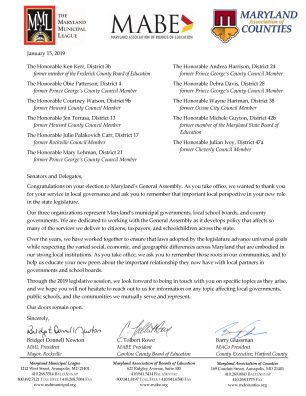 MML MABE MACo Letter to Newly Elected Officials