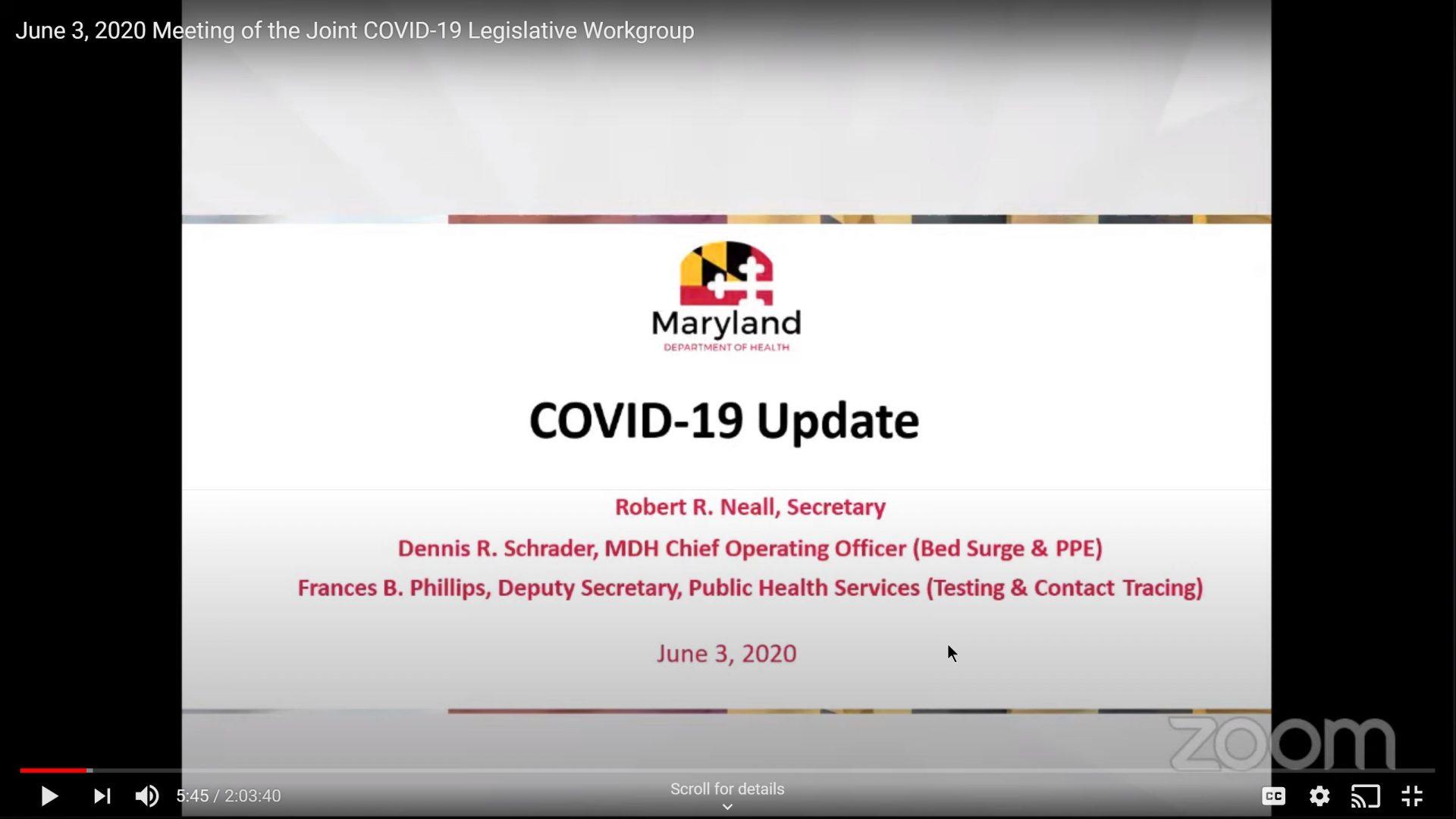 State Health Officials Brief COVID-19 Legislative Workgroup
