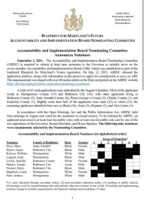 Nominees Named for Blueprint Accountability and Implementation Board