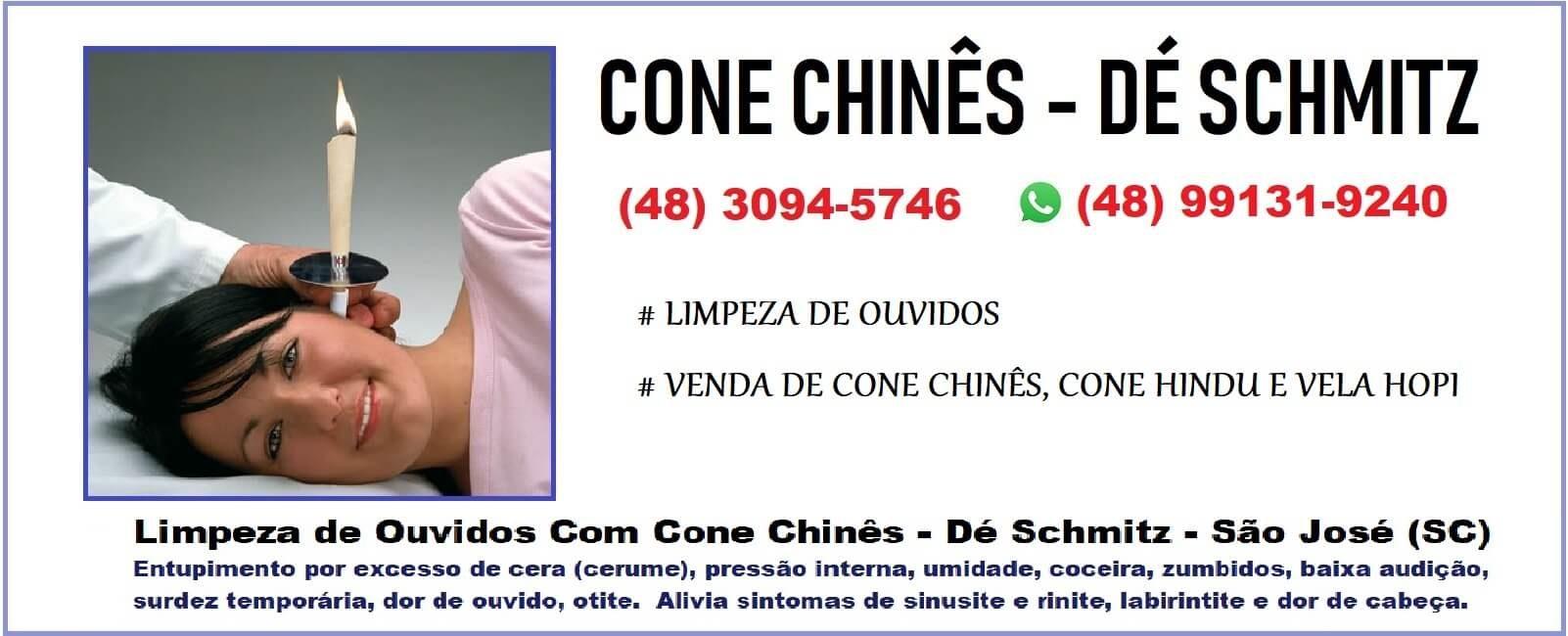 Cone Chinês Dé Schmitz, Limpeza de Ouvidos, Venda de Cone Chinês, Cone Hindu e Vela Hopi, São José SC, Whatsapp (48) 99131-9240.