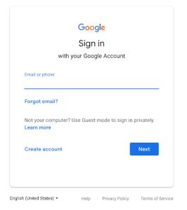 Interface antiga do Login do Google