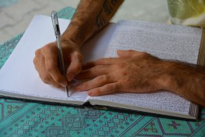 hands, writing, words