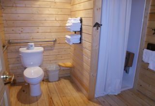 Log cabin bathroom with shower stall