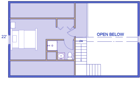 Mountain Haven log cabin 2nd floor layout