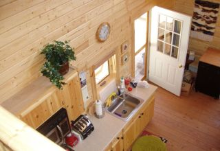 log cabin kitchen aerial