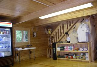 Trap Pond log building interior sales floor