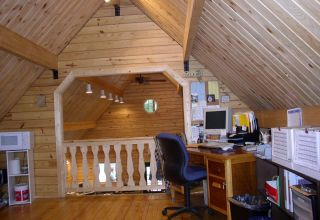 Trap Pond log building interior office space