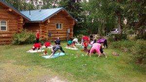 log cabin hobbies - family-yoga-on-the-cabin