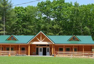 Huron multi-purpose log cabin building front