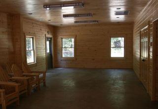 Huron multi-purpose log cabin interior