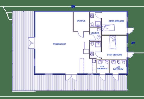 Lincoln log cabin multipurpose building floorplan