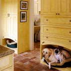 log cabin pet spaces - bed idea