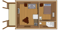 log cabin kit floor plan - serenity