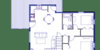 log cabin kits floor plan - rainier