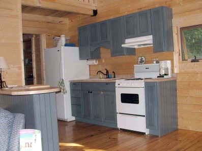 small log cabin kitchen