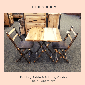 log furniture folding table and chairs