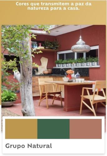 Grupo de cores da Suvinil tintas. Parede de fundo da varanda com uma cor tendencia de 2019.