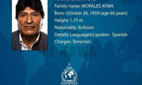 Ex-presidente da Bolívia, Evo Morales, na lista da Interpol como terrorista 67