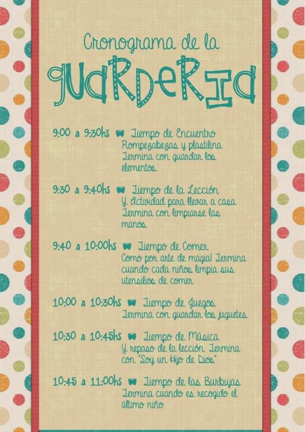 Cronograma de la Guardería - Conexión SUD