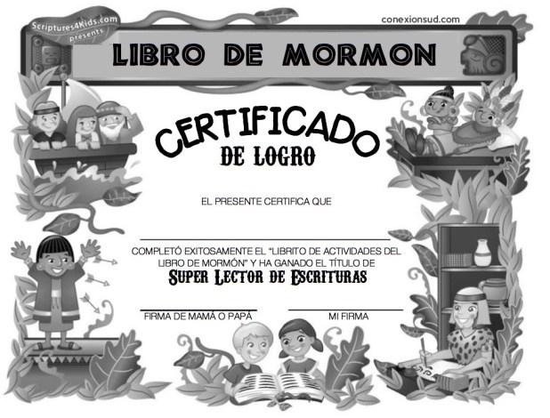Certificado de lectura del Libro de Mormon - Conexión SUD