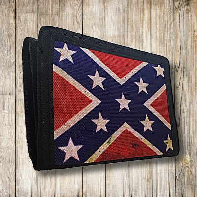 Confederate flag nylon velcro wallet