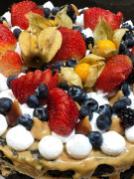 Torta Brownie com Doce de Leite e Frutas