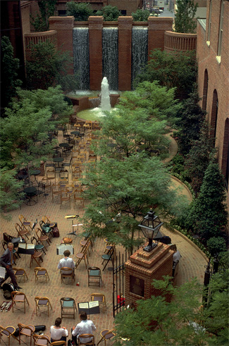 steinman park ariel view brick walls and floor waterfalls rod iron seating