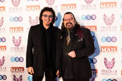 Awards judge Tony Iommi, with fellow musician Roy Wood.