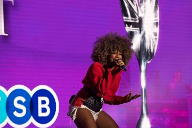 Fleur East performing her hit 'Sax'.