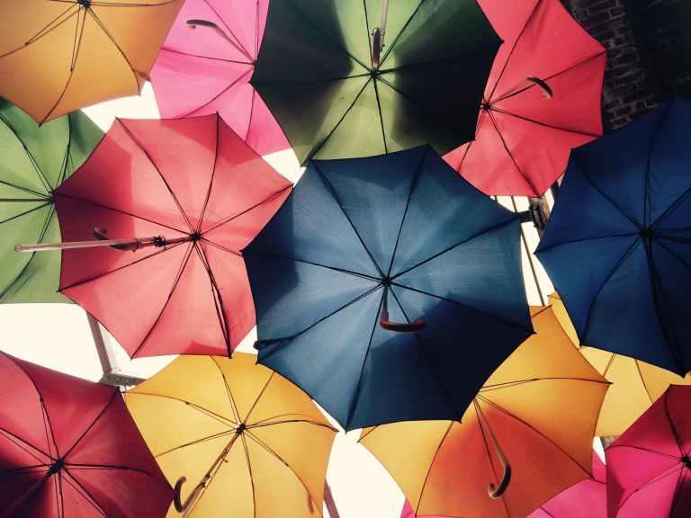 Multi coloured umbrellas