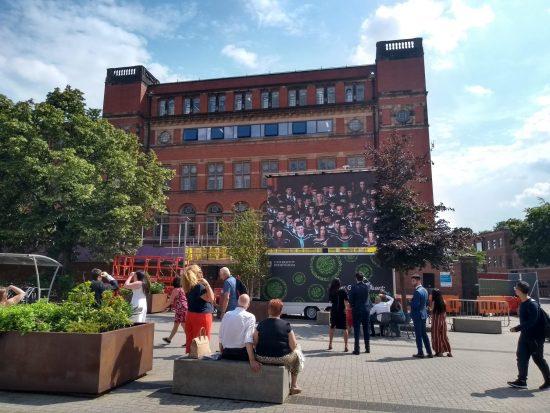 Big screen in Staff House PLaza University of Birmingham