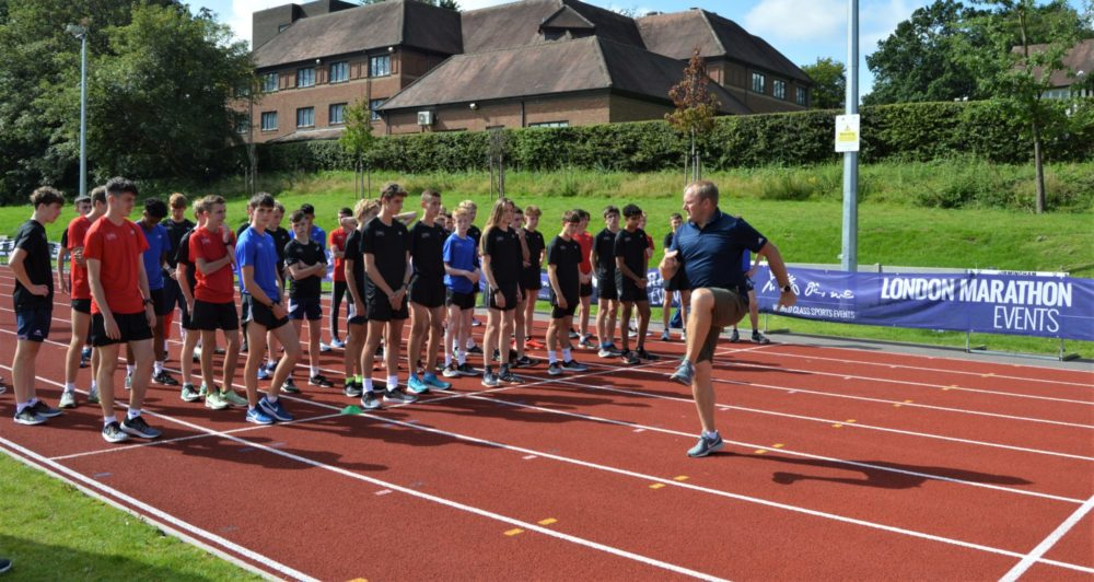 London Marathon Young Athletes camp 2019 - training on track