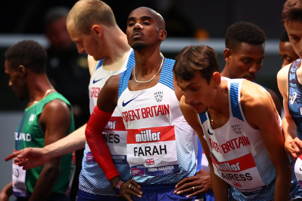 Mo Farah looks ahead at the track before the European Athletics 10,000m Cup race