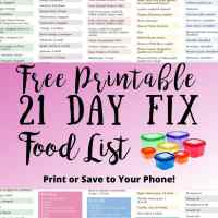 Updated 21 Day Fix Food List - Free Printable