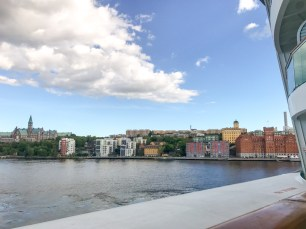 View from the ship as we departed Stockholm